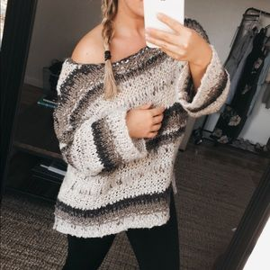 Oversized Free People Chunky Textured Sweater